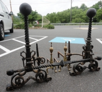 76-antique-iron-and-brass-andirons