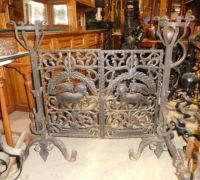 14A-RARE! - ANDIRONS AND FOLDING SCREEN - CIRCA 1870....SEE 182 TO 187