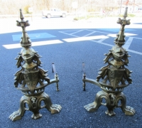 229- GREAT BRASS KNIGHT ANDIRONS - 27'' H
