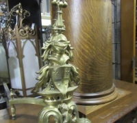 232- GREAT BRASS KNIGHT ANDIRONS - 27'' H