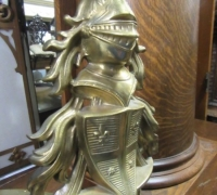 233- GREAT BRASS KNIGHT ANDIRONS - 27'' H
