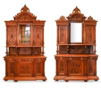 14B...PAIR ANTIQUE CABINETS CAN LOOK LIKE ANTIQUE BACK  & FRONT BAR AS 14A, 27B, 27C
