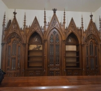 21D..sold..THE FINEST CARVED ANTIQUE GOTHIC FRONT & BACK BAR...SEE 1318 TO 1321
