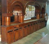 17F..sold...ANTIQUE OAK BACK BAR ONLY 19 FT X 10 FT H....C. 1880...SEE 1275.1276, 1281, 1282