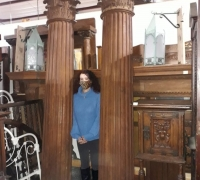 22AAAA...GREAT 9 FT H X 22 W ANTIQUE BACK BAR COLUMNS C .1870. CAN GO ON EACH END OF ANY ANTIQUE BACK BAR