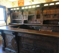 28...sold....RARE AUTHENTIC ANTIQUE 13 FT 7 IN L BLACK FOREST BACK BAR, 8 FT D X 10 FT L FRONT BAR....FROM TIME SQUARE, NYC. C. 1870...ALL ORIGINAL.....SEE 951 TO 958