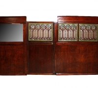 45- RARE! ORIGINAL BRUNSWICK STAINED GLASS WALL DIVIDER - 16 FT L X 82'' H - mahogany - can separate - SEE # 767 TO # 774