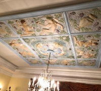 80A...sold...INSTALLED RARER FIGURED ANTIQUE BARROOM TIN CEILING...MATCHES #80 ANTIQUE TIN CEILING