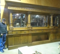13 J- ANTIQUE CARVED BACKBAR - 15 FT LONG X 8 FT 2'' H (CAN RAISE HEIGHT) - see # 348 TO #370