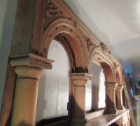 6079 SOLD-GREAT STRIPPED EXTRA CARVED BRUNSWICK BACK BAR 16 FT. W X 9 FT H.....SEE #899 TO 909 FOR ADDITIONAL PICTURES
