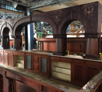 15 c - 21FT L X 10 FT H - MAHOGANY  BACK BAR + 23 FT. FRONT BAR - We have the top 12'' crown + mirrors + front bar top - not missing just not pictured - see #448a to #452 see more #630 to #653