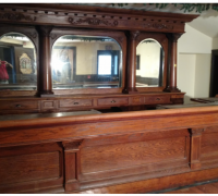 13B ..sold... ANTIQUE BACK AND FRONT BAR - 14 FT. LONG - SEE #702 - #703