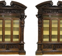 981A...RARE PAIR OF CARVED BAR CABINETS 10 FT. H X 85 INCHES W EACH X 22 INCHES