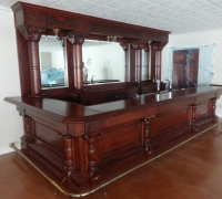 33 -HOLD - great-carved-15-ft-antique-back-and-front-bar- REFINISHED