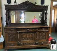 20J..GREAT CARVED HORNER WITH CARVED GRIFFINS...72 W X 86 H...C.1880