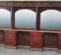 11...ANTIQUE MAHOGANY BACK BAR W/MARBLE TOP...C. 1880. MINT CONDITION...15'10
