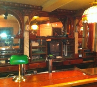 62....ANTIQUE BACK BAR WITH RARE MARBLE COLUMNS 12' LONG AND 19' FRONT BAR...SEE 383 TO 386