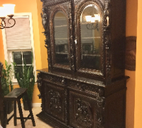 76...GREAT ANTIQUE GOTHIC CARVED CABINET W/CARVED KNIGHTS....1 OF A KIND...66