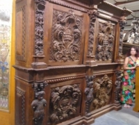 14 -BEFORE - SOLD - 30 MORE similar antique carved cabinets - This becomes a matching back and front bar -- see # 14 a - #1216 to 1228
