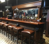 01a-sold - C. 1880 - ANTIQUE 15 ' L  X  8 FT 6''H BACK BAR AND 18' TO 26' FRONT BAR - NOW BEING FILMED FOR A TV SHOW - SEE #1418 TO # 1427