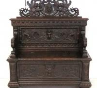 135- sold - Carved walnut   bench
