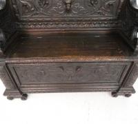 136 -sold - Carved  walnut   bench