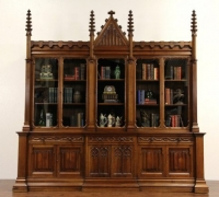 88 - Great huge walnut bookcase - back bar - mint condition - circa 1870 - 115'' w x 115'' h x36'' d