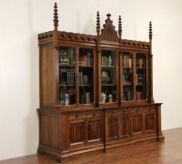 89-  Great huge walnut bookcase - back bar - mint condition - circa 1870 - 115'' w x 115'' h x36'' d