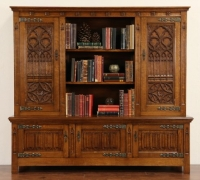 90 - Great Gothic carved bookcase - back bar - 87'' long x 72'' h x 25'' d  -  circa 1880