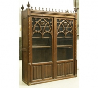 52- sold - antique-gothic-bookcase-cabinet