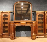 08....BURLED WALNUT MANTEL AND PAIR OF BOOKCASES OVERALL 20' 3