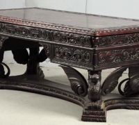269-RARE CARVED GRIFFIN ANTIQUE PARTNERS DESK - CIRCA 1920 - USA MADE - DRAWERS ON BOTH SIDES - 78'' L X 42'' W - MAHOGANY