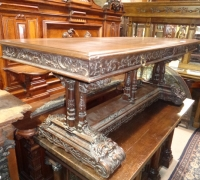 170 -sold- GREAT CARVED WALNUT TABLE - DESK  -  32'' D X 79'' L