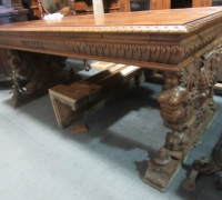 252- GREAT CARVED MAHOG. DESK - TABLE - 72'' W X 36'' D WITH 2 DRAWERS