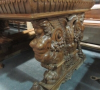 256- GREAT CARVED MAHOG. DESK - TABLE - 72'' W X 36'' D WITH 2 DRAWERS