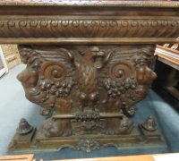 258- GREAT CARVED MAHOG. DESK - TABLE - 72'' W X 36'' D WITH 2 DRAWERS