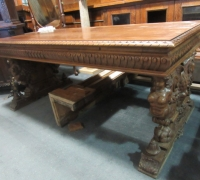 261- GREAT CARVED MAHOG. DESK - TABLE - 72'' W X 36'' D WITH 2 DRAWERS