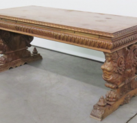 08- GREAT CARVED EAGLE TABLE - DESK WITH 2 DRAWERS - 75'' L X 36'' D -SEE #249 TO #261