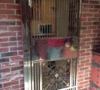 20Y...RARE BRONZE AND IRON ORNATE BANK VAULT DOOR (WINE CELLAR DOOR) 31 1/2 W WITH MOUNTING FRAME X 75 1/2 H
