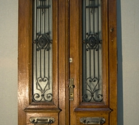 96* antique-iron-and-wood-carved-door