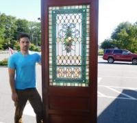 726- Great Pair of Stained Glass Doors with 78 Cut Jewels in Each Door - 106'' H X 36'' W each door