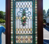 20J- Great Pair of Stained Glass Doors with 78 Cut Jewels in Each Door - 106'' H X 36'' W each door