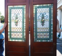 20K- Great Pair of Stained Glass Doors with 78 Cut Jewels in Each Door - 106'' H X 36'' W each door