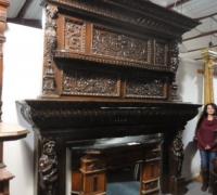 01- ONE OF THE LARGEST AND FINEST CARVED MANTLES IN THE WORLD! - 11 FT H X 11 FT W - CIRCA 1870 -sold