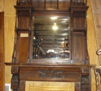 121- antique-carved-tall-fireplace-mantle - C. 1870  WALNUT   10 FT 6
