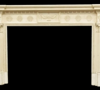 06A....WHITE NEOCLASSICAL MANTEL...55 H X 84.75 W X 8 D...OPENING 40.75 H X 58.5 W