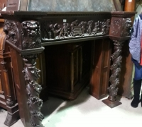 06B..GREAT CARVED WALNUT ANTIQUE HOODED MANTLE C. 1880..BOTTOM 61.5 W X 22 D X 55 H...TOP 43.5 W X 18 D X 55 H