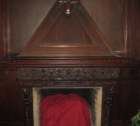 10-antique-carved-fireplace-mantle-ONE OF THE FINEST CARVED ANTIQUE MANTLES IN THE WORLS!! -3'' DEEP CARVED CASTLE MANTLE WITH THE FINEST DETAILING. - CIRCA 1870 - 86'' W X 29'' H X 9 FT. 9 IN. H - WALNUT - MINT CONDITION WITH ORIGINAL HOOD TOP