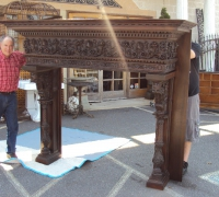 09 -1 OF THE FINEST CARVED ANTIQUE MANTLE IN THE USA !!!!!! 86'' W X 72'' H X 29'' D WITH HOOD 117'' H  /// OPENING 54'' W X 54''H