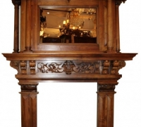 03- GREAT CARVED MANTLE - WALNUT - 82'' W X 103'' H ///OPENING NOW 42'' W - CAN BE 54'' W X 42'' H-SEE #1175 TO 1184